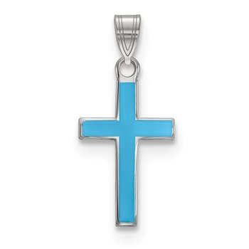 Sterling Silver Rhodium-plated Blue Enameled Cross Charm