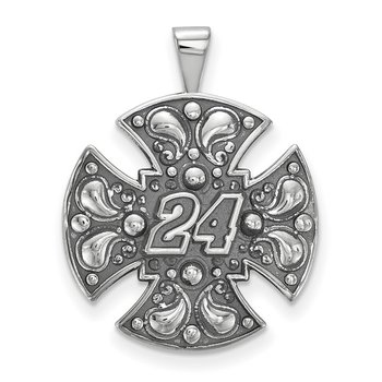Sterling Silver 24 Jeff Gordon NASCAR Pendant