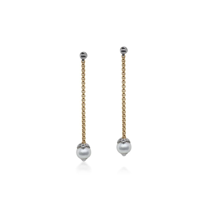ALOR Yellow Chain Reaction Pearl Drop Earrings