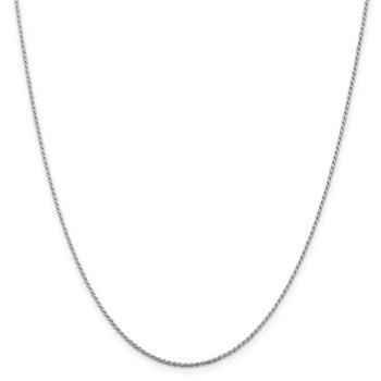 Sterling Silver Rhodium-plated 1.1mm Diamond-cut Rope Chain
