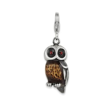 Sterling Silver Enameled Owl w/ Lobster Clasp Charm