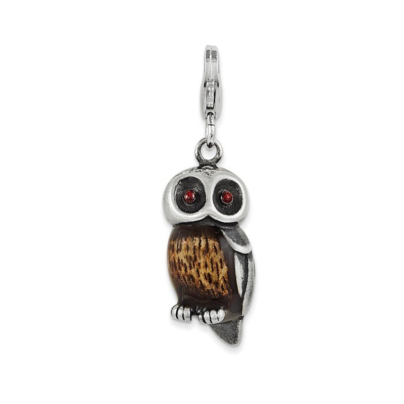 Quality Gold Sterling Silver Enameled Owl w/ Lobster Clasp Charm