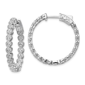 Sterling Silver Rhodium-plated CZ In & Out Heart Round Hoop Earrings