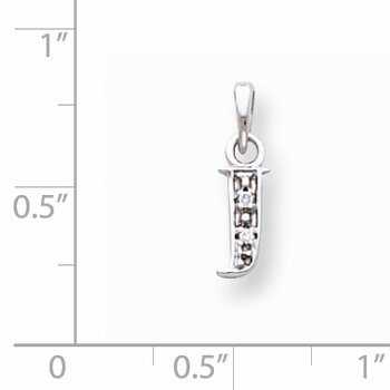 14KW Rhodium-plated Diamond Letter J Initial Pendant