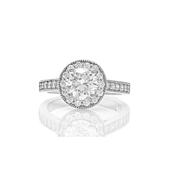 Classic Milgrain Prong Set Round Diamond Engagement Ring