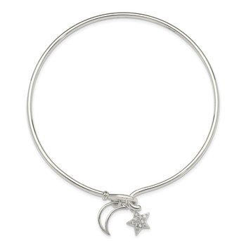 Sterling Silver Polished w/CZ Moon and Star Bangle