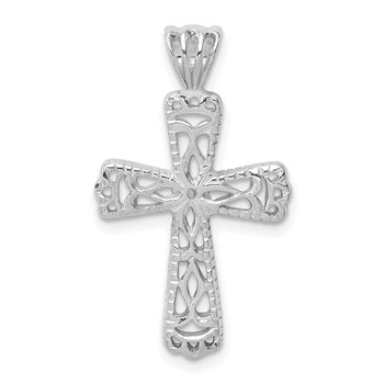 Sterling Silver Filigree Textured Cross Pendant