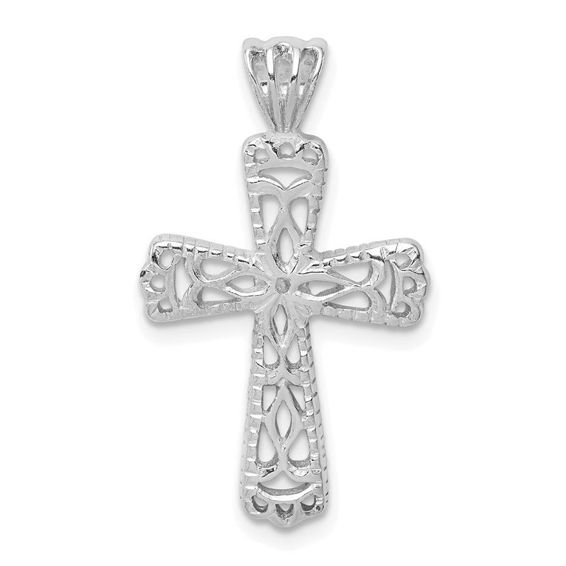 Quality Gold Sterling Silver Filigree Textured Cross Pendant
