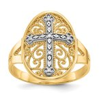 Quality Gold 14k Yellow & White Gold Diamond Filigree Cross Ring