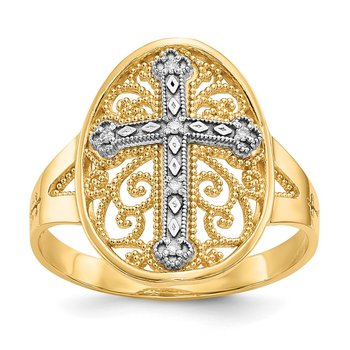 14k Yellow & White Gold Diamond Filigree Cross Ring