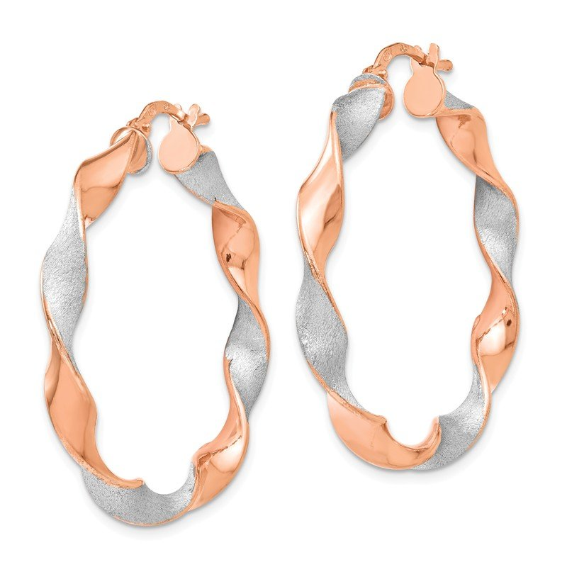 Leslie's Leslie's Sterling Silver Rose Gold-plated Twisted Hinged Earrings