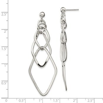 Sterling Silver Polished Geometric Post Dangle Earrings