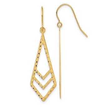 14k Gold Polished and Textured Dangle Earrings