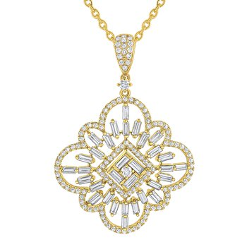Diamond Mosaic Statement Necklace Set in 14 Kt. Gold