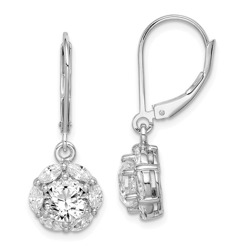 Quality Gold Sterling Silver Rhodium-plated 6mm CZ Halo Leverback Earrings