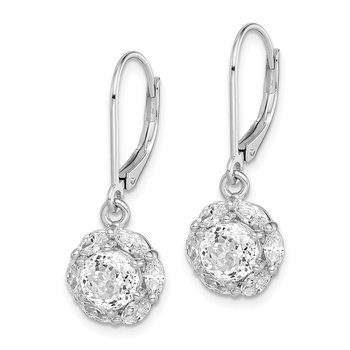 Sterling Silver Rhodium-plated 6mm CZ Halo Leverback Earrings
