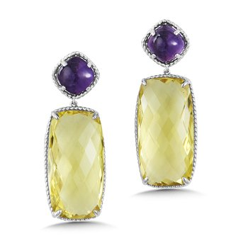 Sterling Silver Amethyst & Green Gold Lemon Quartz Drop Earrings