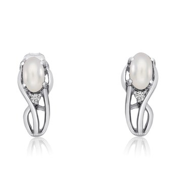 14K White Gold Curved Freshwater Cultured Pearl and Diamond Earrings