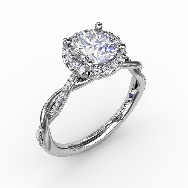 Contemporary Round Diamond Halo Engagement Ring with Twist Band