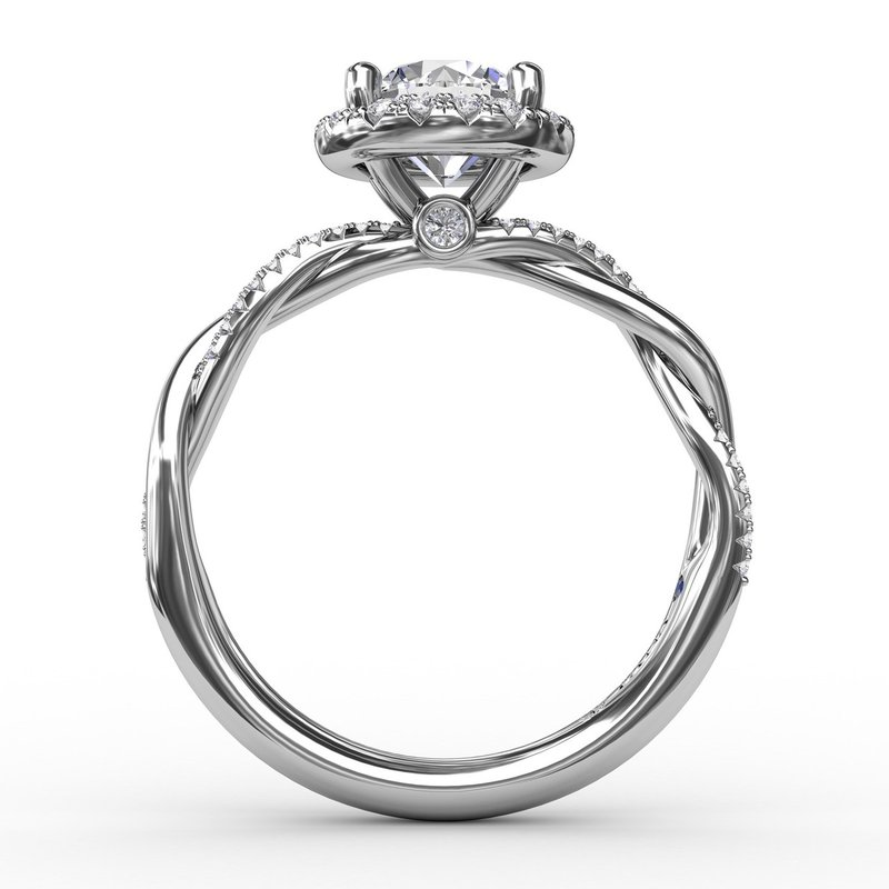 Fana Contemporary Round Diamond Halo Engagement Ring with Twist Band