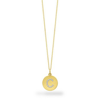 "Diamond Disc Initial ""C"" Necklace in 14k Yellow Gold with 14 Diamonds weighing .09ct tw."