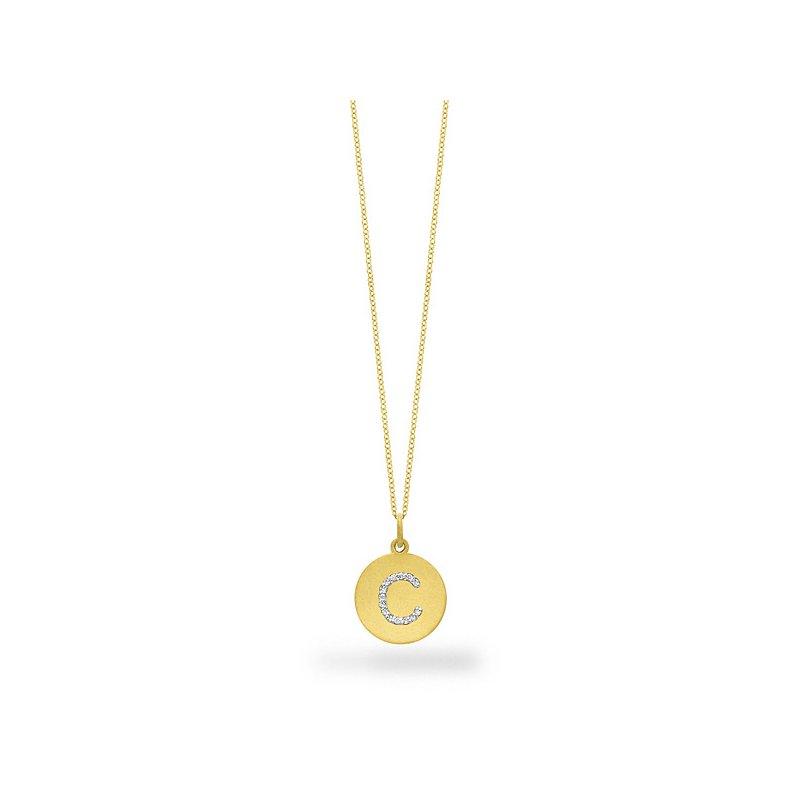 "KC Designs Diamond Disc Initial ""C"" Necklace in 14k Yellow Gold with 14 Diamonds weighing .09ct tw."