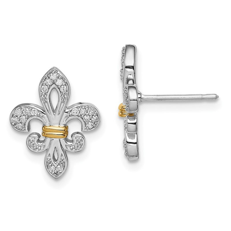 Quality Gold Sterling Silver Rhodium & 14k Yellow Gold Diam. Fleur de Lis Post Earrings