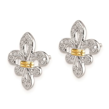 Sterling Silver Rhodium & 14k Yellow Gold Diam. Fleur de Lis Post Earrings