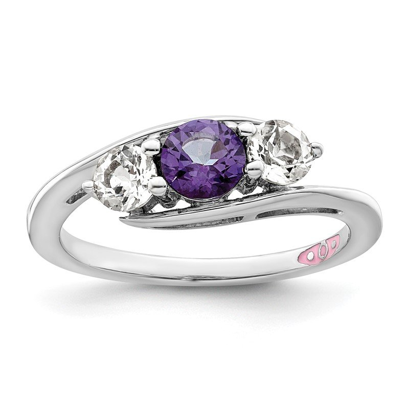Quality Gold 10k White Gold Survivor Collection Clear/Purple Swarovski Topaz Sue Ring