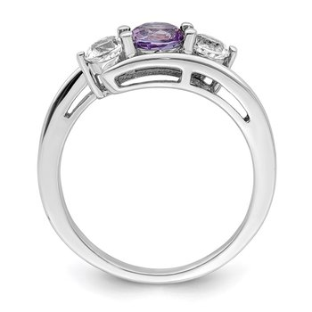 10k White Gold Survivor Collection Clear/Purple Swarovski Topaz Sue Ring