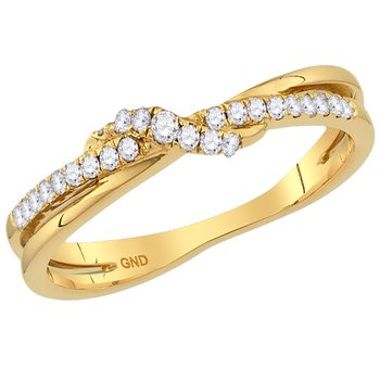 10kt Yellow Gold Womens Round Diamond Crossover Stackable Band Ring 1/8 Cttw
