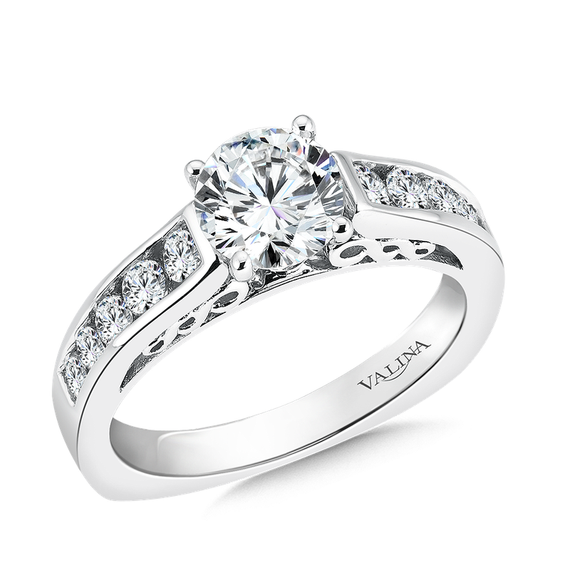 Valina Bridals Mounting with side stones .53 ct. tw., 1 ct. round center.