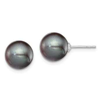 Sterling Silver Rh-plated 9-10mm Black FW Cultured Round Pearl Stud Earring