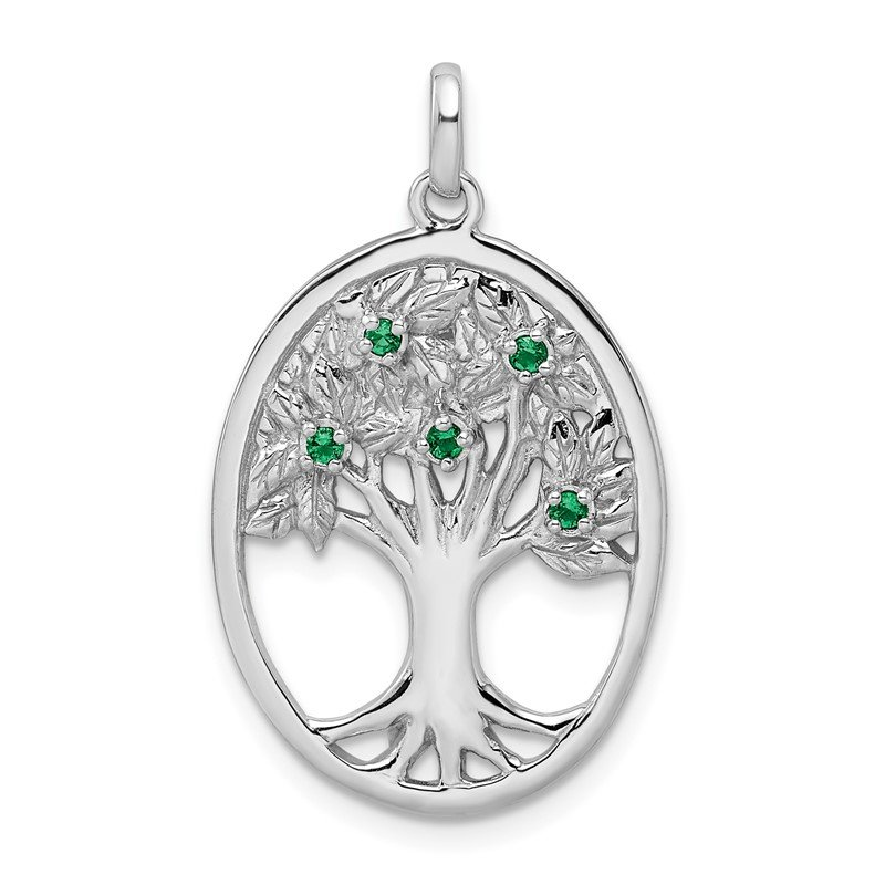 Quality Gold Sterling Silver Rhodium-plated Green Glass Buds Oval Tree Pendant