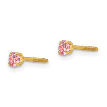 14k Madi K 3mm Synthetic October Birthstone Earrings