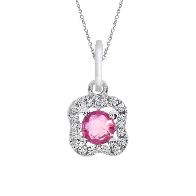Color Merchants 14k White Gold Ruby and Diamond Pendant