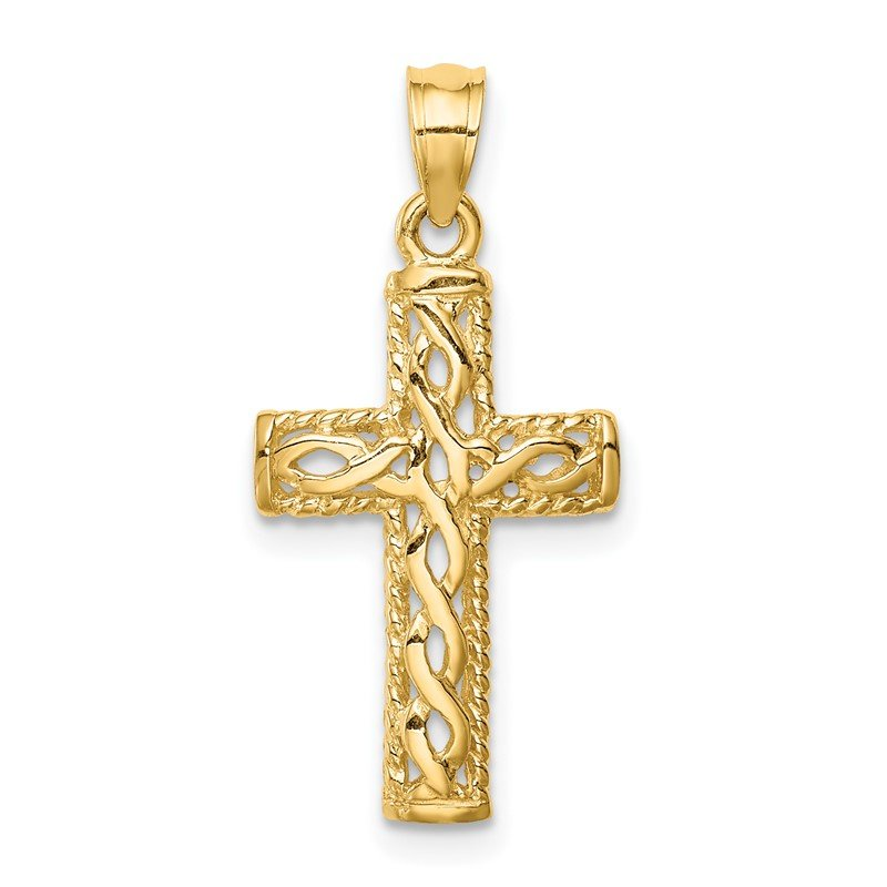 Quality Gold 14K Polished Braided Cross Pendant