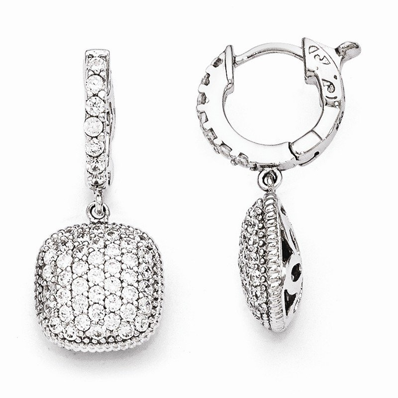 Quality Gold Sterling Silver Rhodium Plated Cz Hinged Hoop Dangle Square Earrings