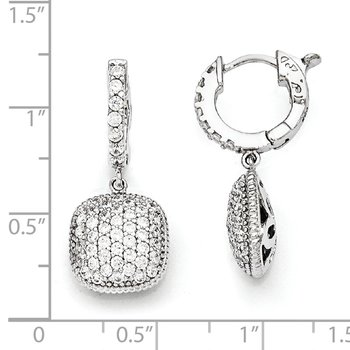 Sterling Silver Rhodium Plated CZ Hinged Hoop Dangle Square Earrings