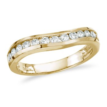 14K Yellow Gold .50 ct Diamond Wave Band Ring