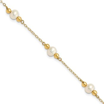 14K 5-6mm White Near Round FW Cultured Pearl Bead 5-station Bracelet