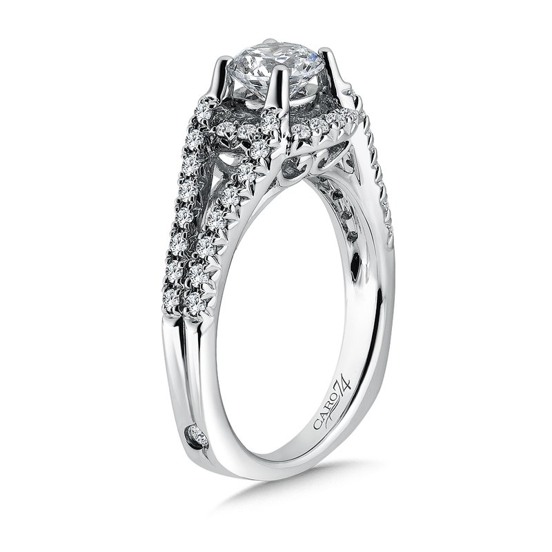Caro74 Luxury Collection Engagement Ring With Diamond Side Stones in 14K White Gold (3/4ct. tw.)