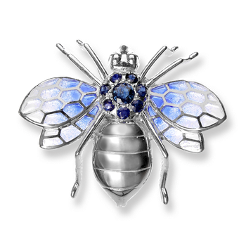 Sterling Silver Bee Brooch-Blue.  Blue Sapphires.