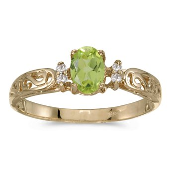 14k Yellow Gold Oval Peridot And Diamond Filagree Ring