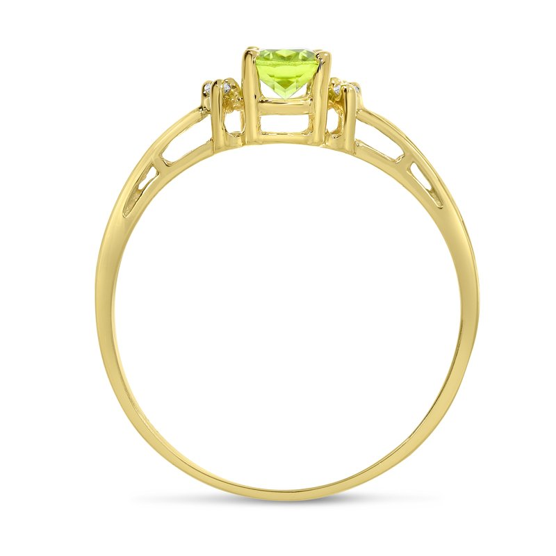 Color Merchants 14k Yellow Gold Oval Peridot And Diamond Filagree Ring