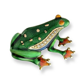 Green Frog Brooch.18K -Diamonds