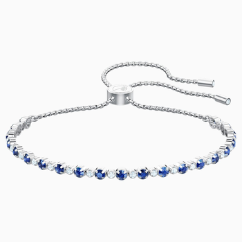 Subtle Bracelet, Blue, Rhodium plated