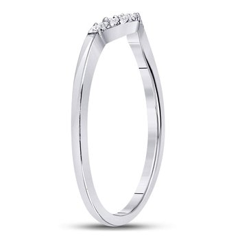 10kt White Gold Womens Round Diamond Contoured Solitaire Enhancer Wedding Band 1/20 Cttw