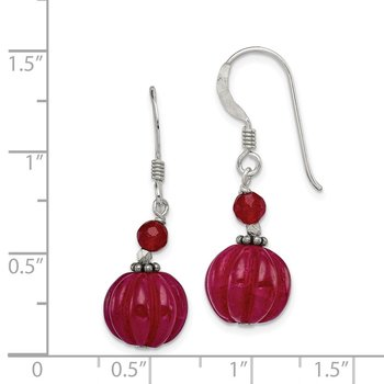 Sterling Silver Red Adventurine and Red Quartz Shepherd Hook Earrings