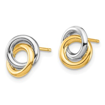 14k & White Rhodium Circles Post Earrings
